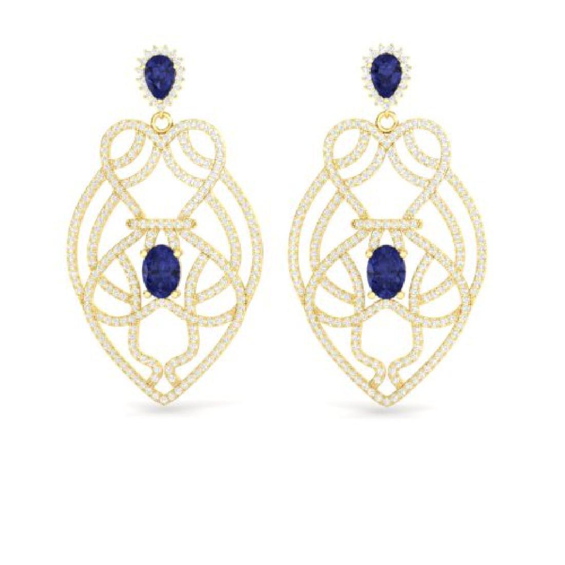 7 CTW Tanzanite & Micro Pave VS/SI Diamond Earrings