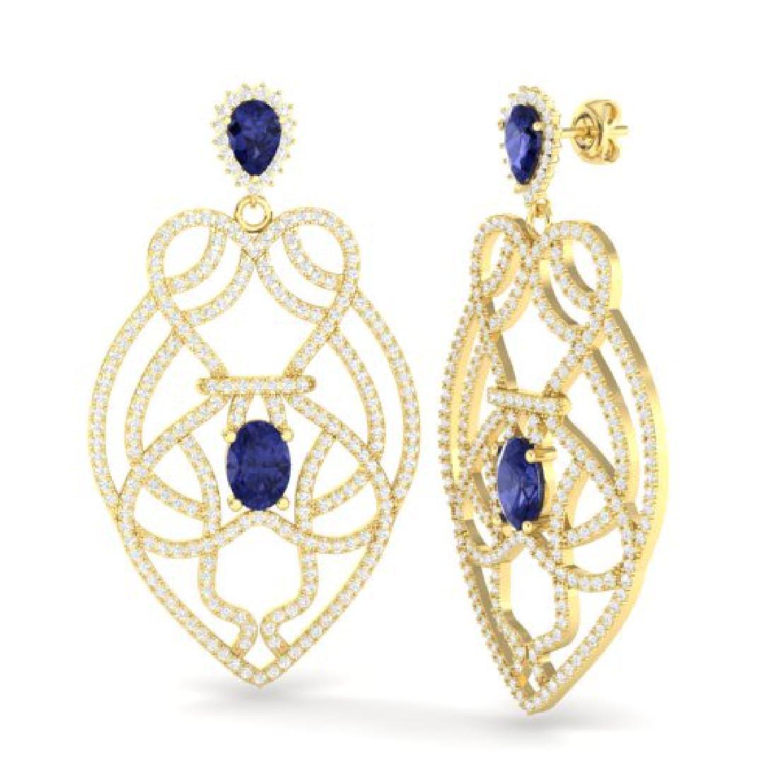 7 CTW Tanzanite & Micro Pave VS/SI Diamond Earrings - 2