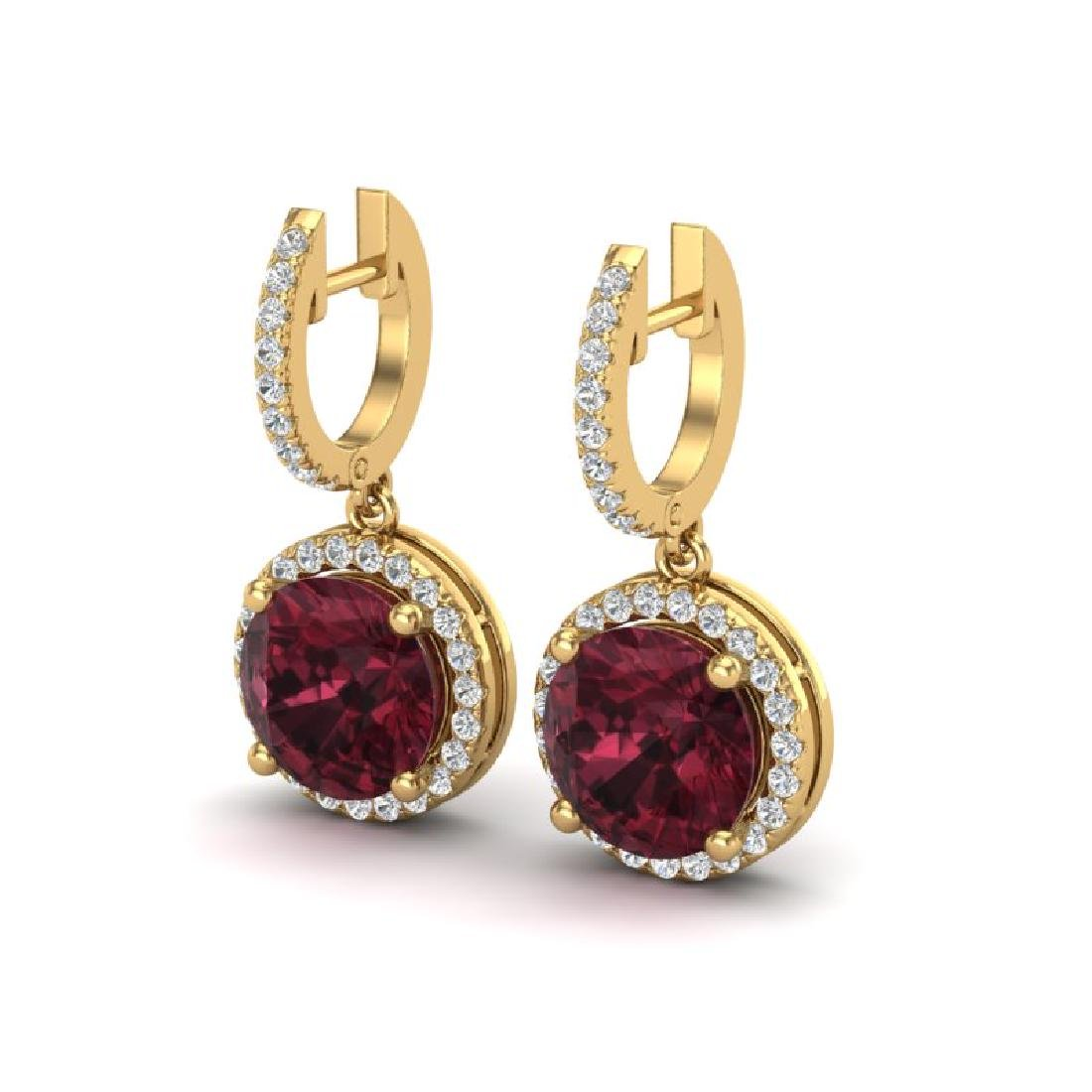 5.50 CTW Garnet & Micro Pave VS/SI Diamond Halo 18K