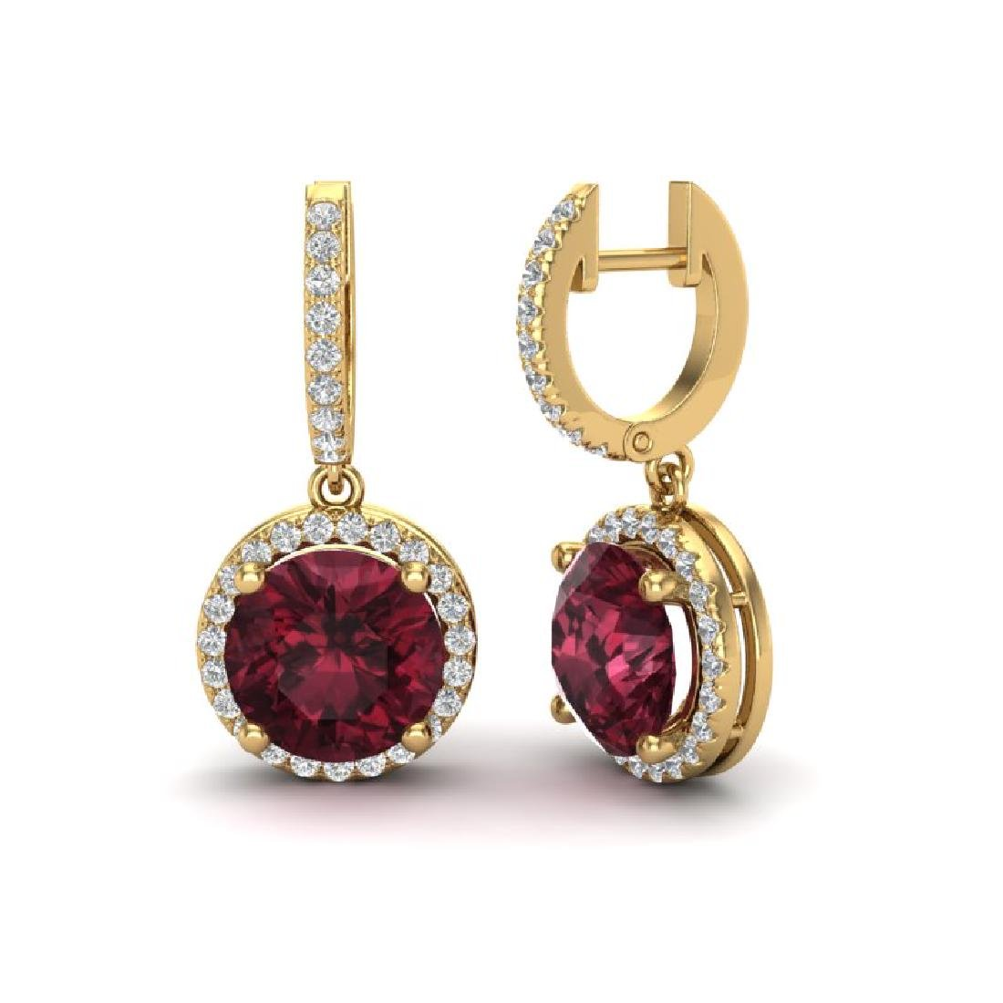 5.50 CTW Garnet & Micro Pave VS/SI Diamond Halo 18K - 2