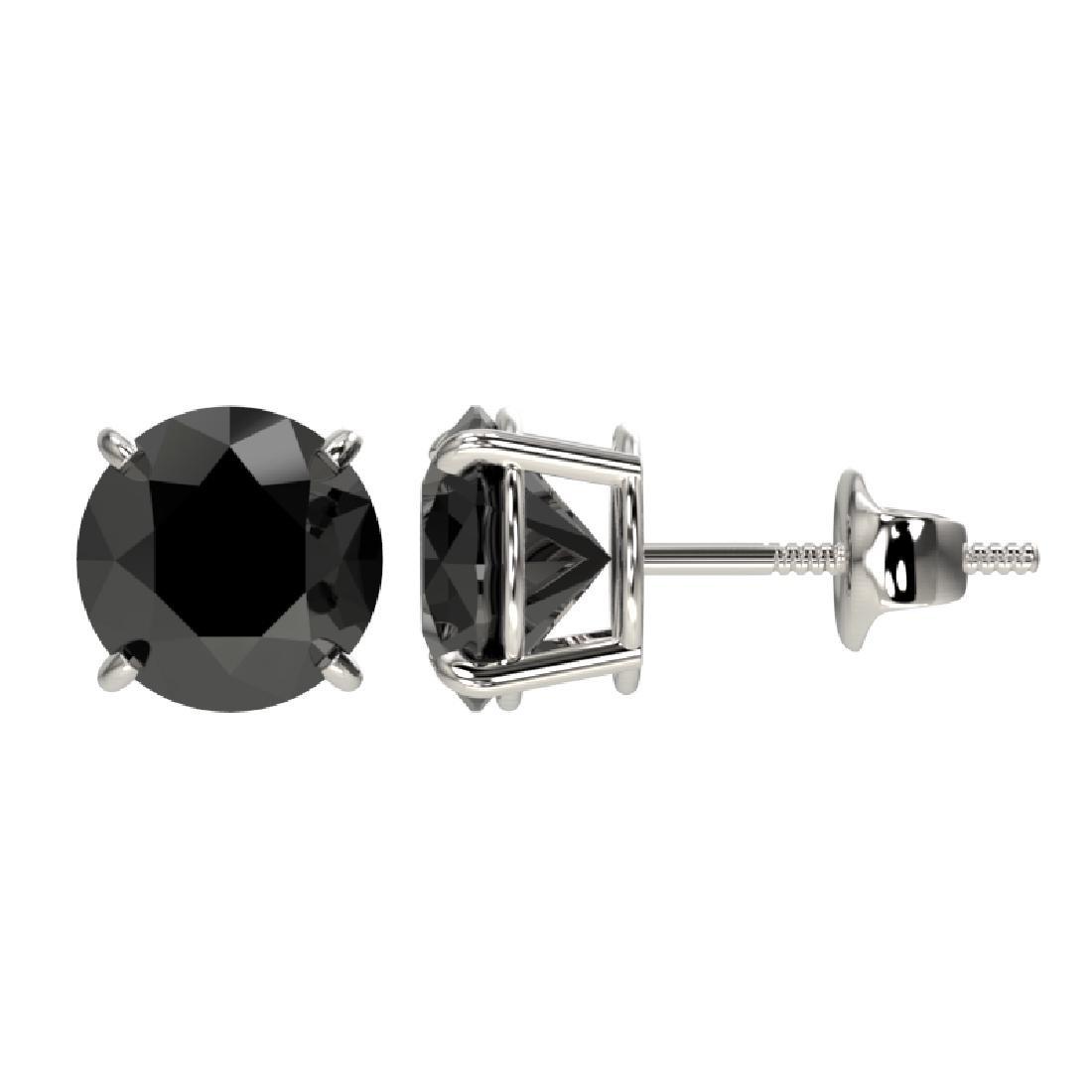 2 CTW Fancy Black VS Diamond Solitaire Stud Earrings - 2