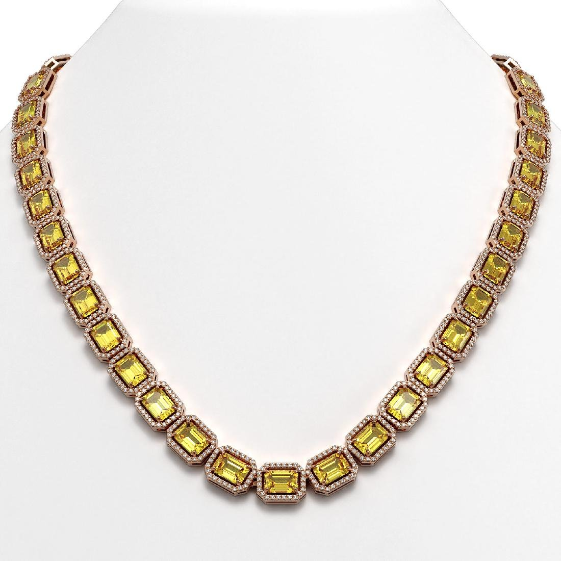 52.94 CTW Fancy Citrine & Diamond Halo Necklace 10K