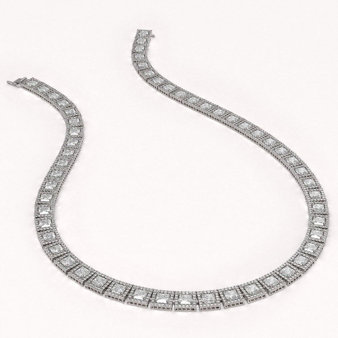 36.30 CTW Princess Diamond Designer Necklace 18K White - 2