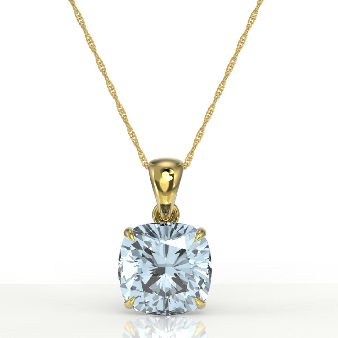 6 Cushion Cut Sky Blue Topaz Solitaire Necklace 18K - 2