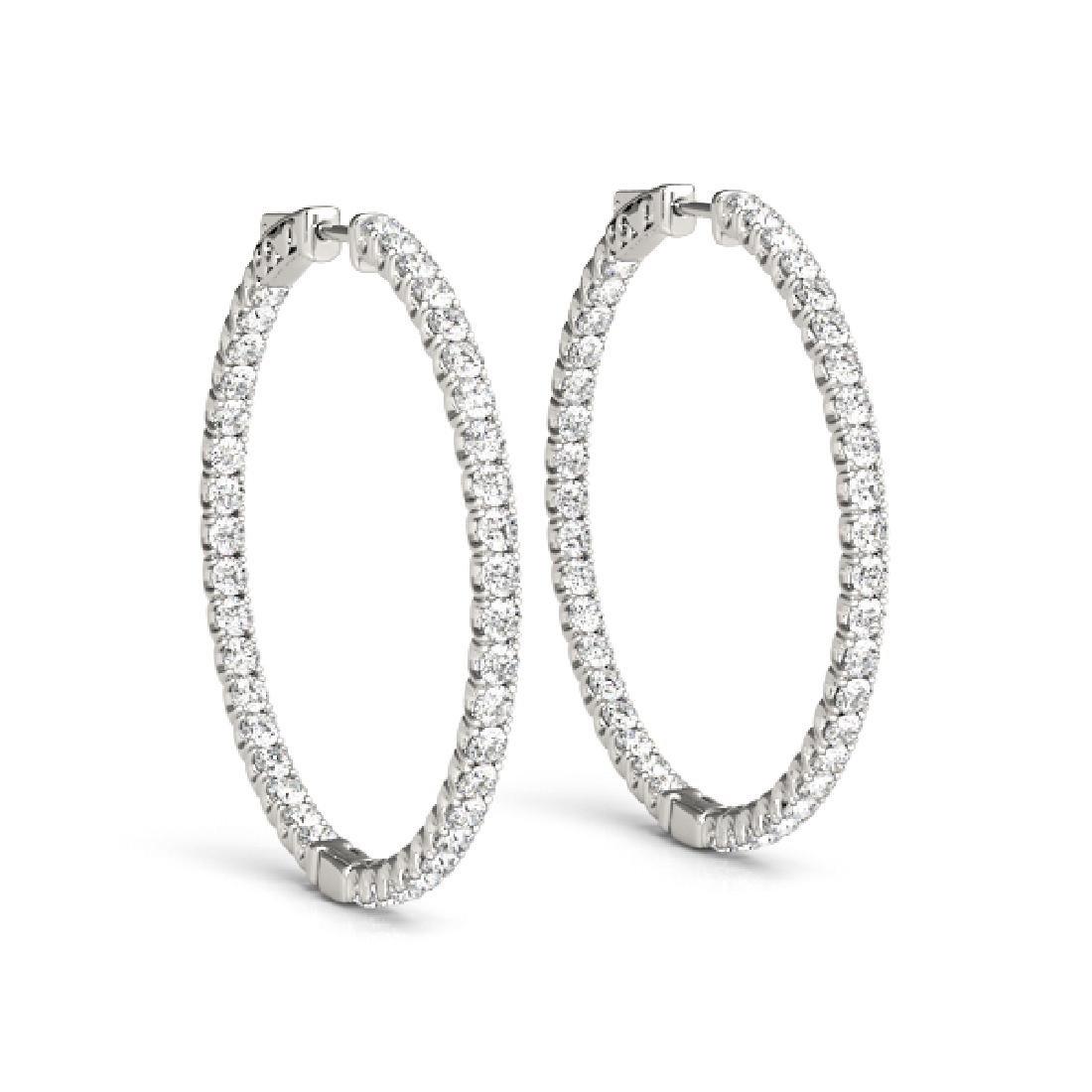 3.5 CTW Diamond VS/SI Certified 56 Mm Hoop Earrings 14K - 2