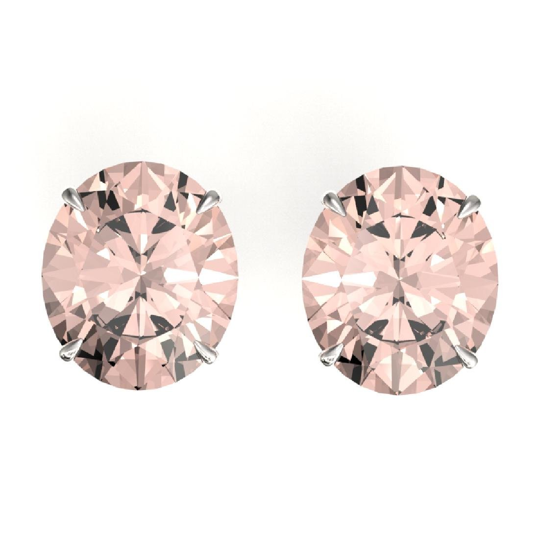 18 CTW Morganite Designer Solitaire Stud Earrings 18K
