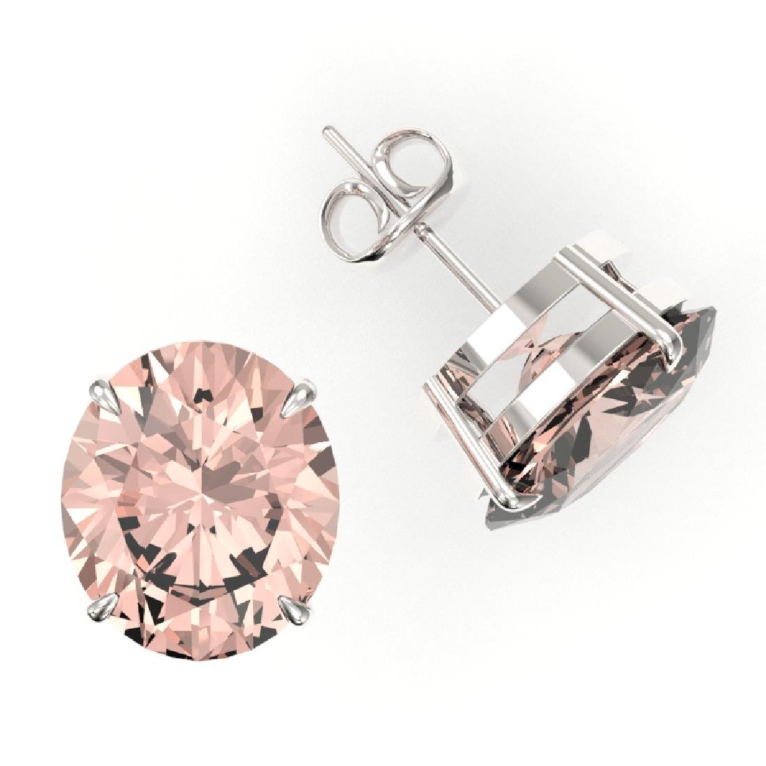 18 CTW Morganite Designer Solitaire Stud Earrings 18K - 2