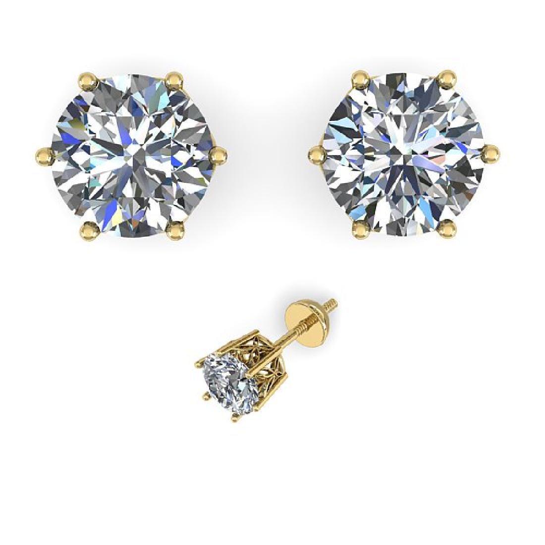 1.05 CTW VS/SI Diamond Stud Art Deco Earrings 14K - 2