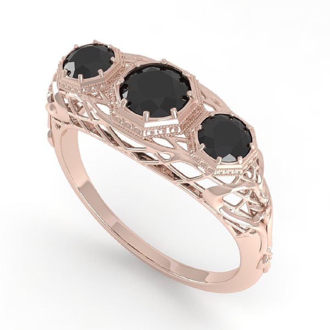 1.00 CTW Black Diamond Art Deco Ring 14K Rose Gold - 2