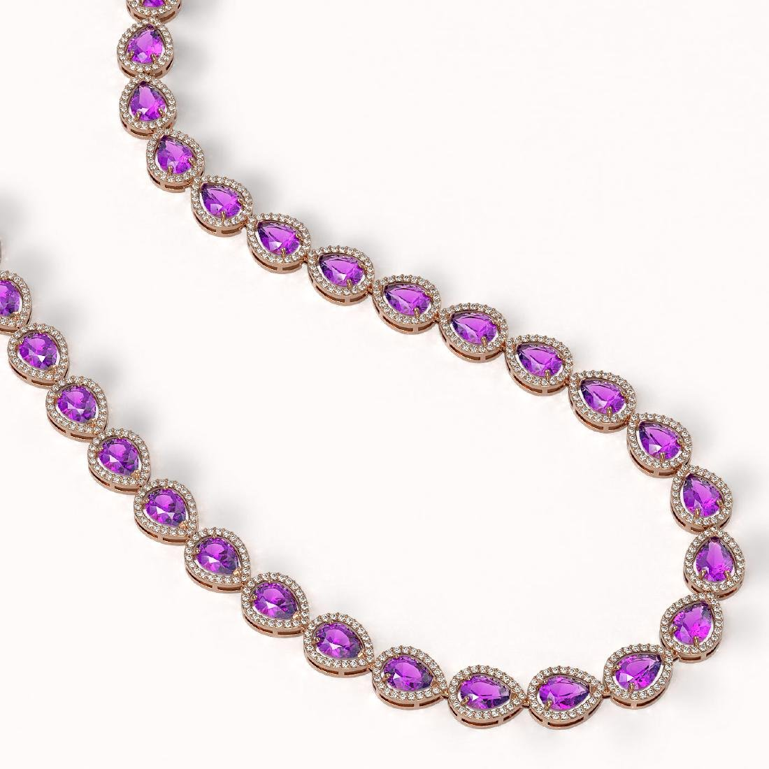 35.13 CTW Amethyst & Diamond Halo Necklace 10K Rose - 2