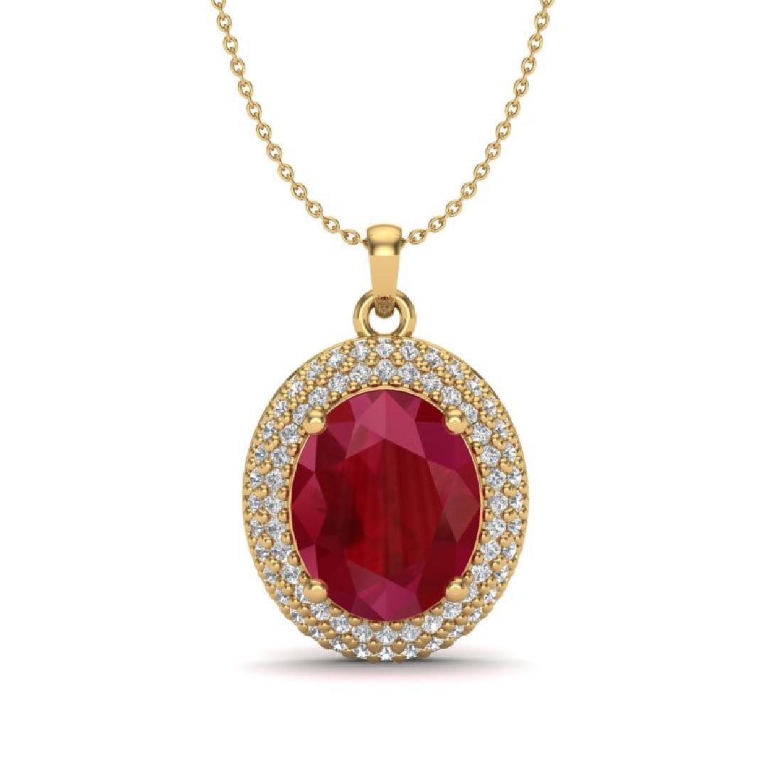 4.50 CTW Ruby & Micro Pave VS/SI Diamond Necklace 18K
