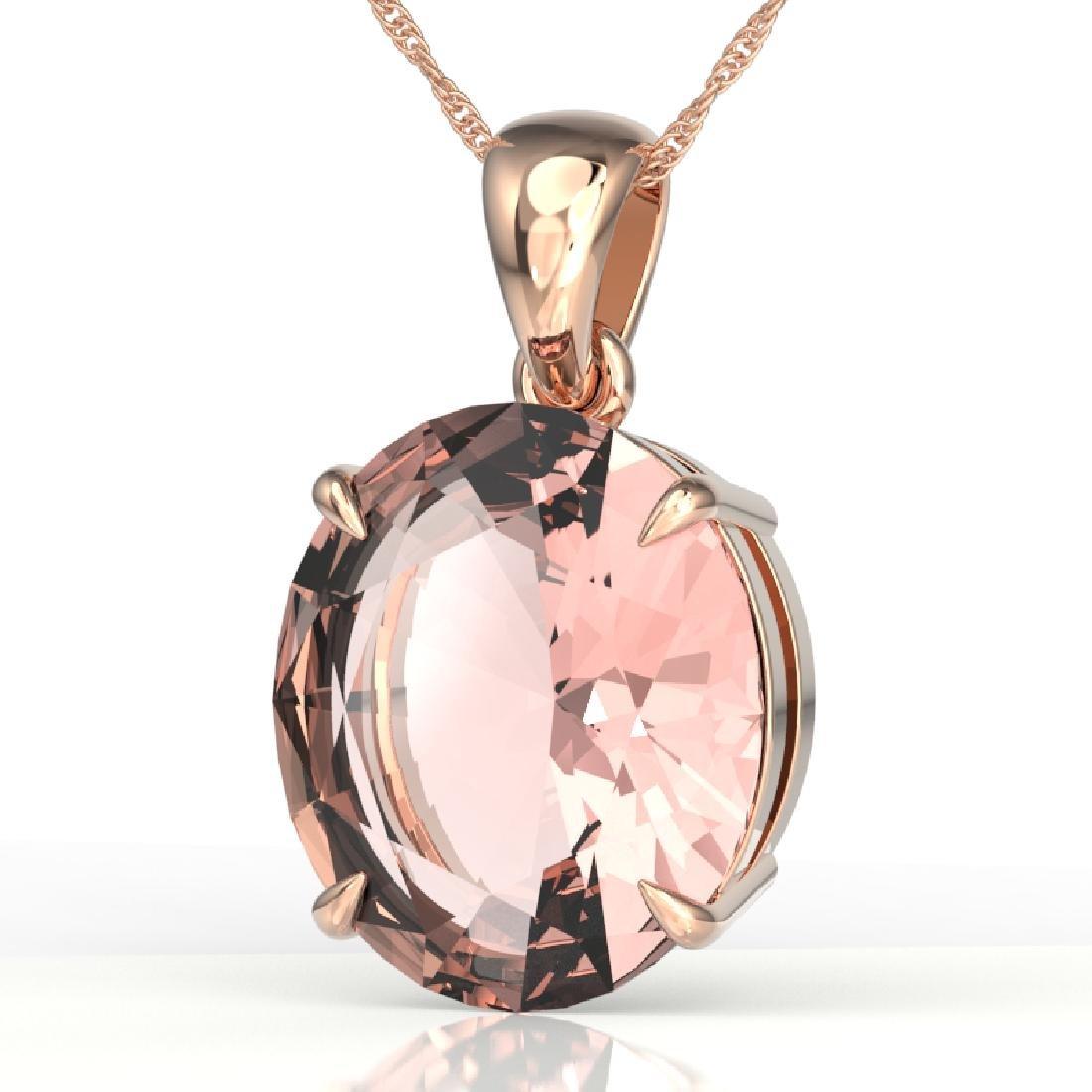 9 CTW Morganite Designer Solitaire Necklace 14K Rose