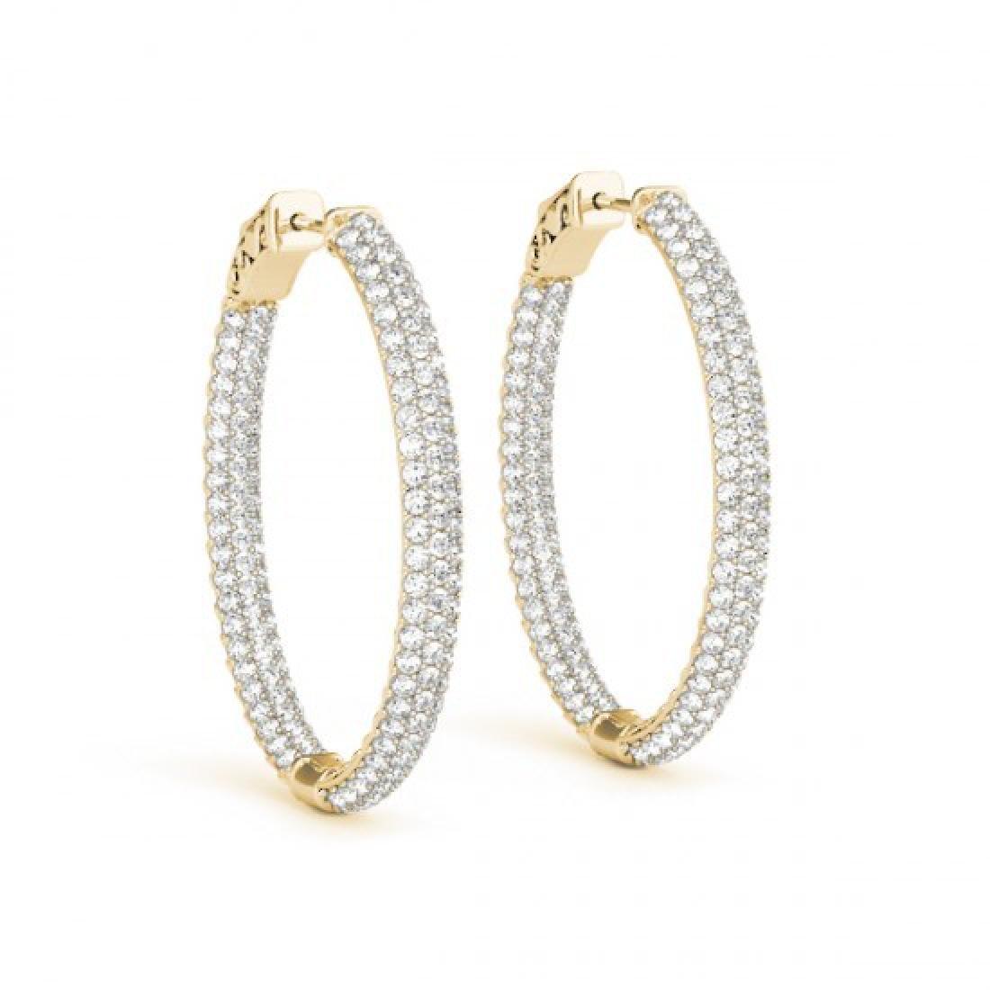 3.65 CTW Diamond VS/SI Certified 31 Mm Hoop Earrings - 2