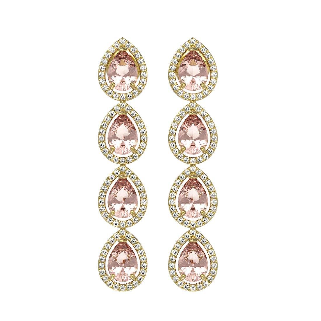 7.8 CTW Morganite & Diamond Halo Earrings 10K Yellow