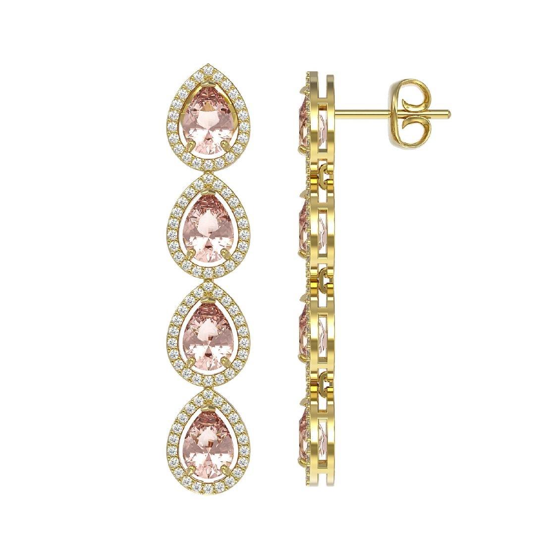 7.8 CTW Morganite & Diamond Halo Earrings 10K Yellow - 2