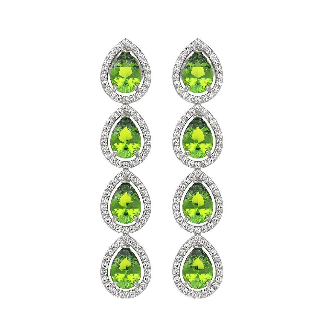 7.46 CTW Peridot & Diamond Halo Earrings 10K White Gold