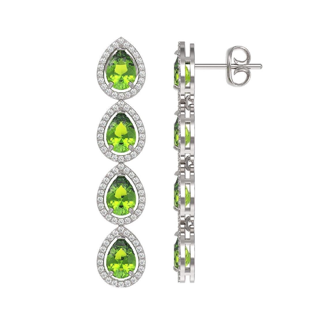 7.46 CTW Peridot & Diamond Halo Earrings 10K White Gold - 2