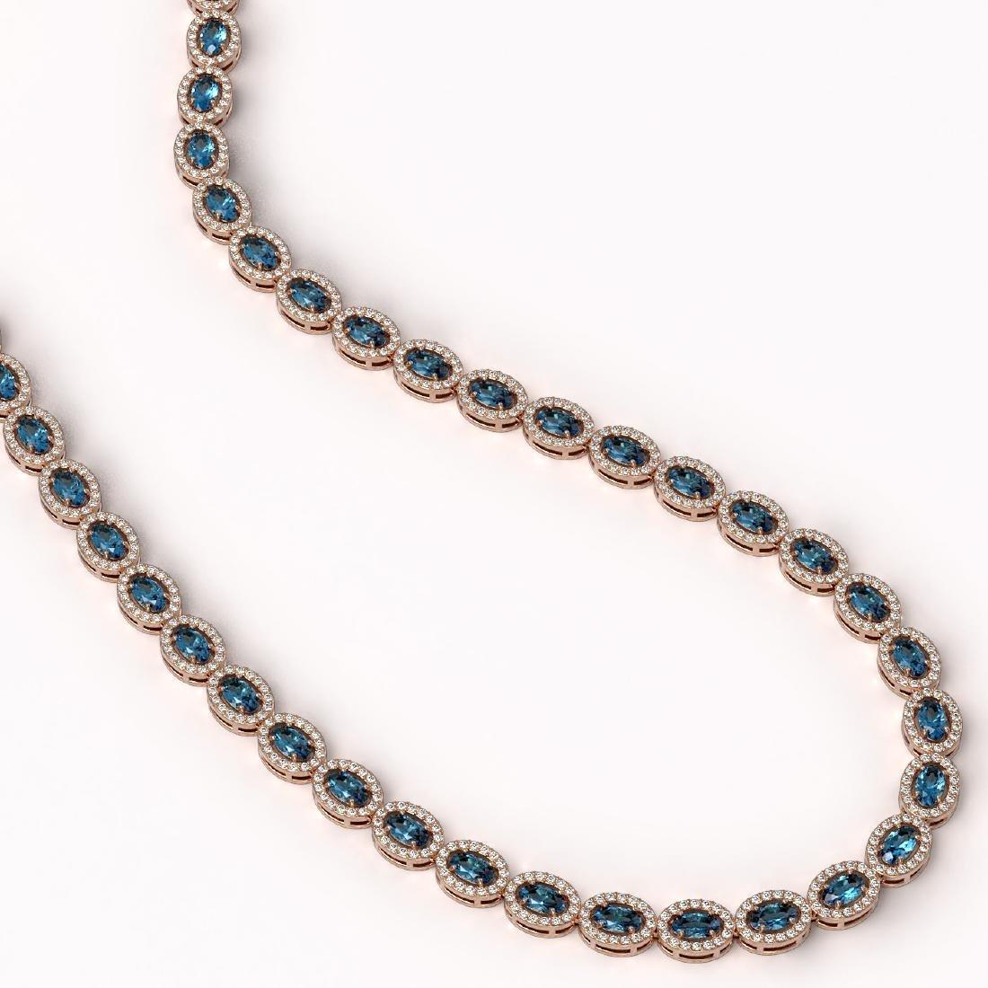 24.07 CTW London Topaz & Diamond Halo Necklace 10K Rose - 2