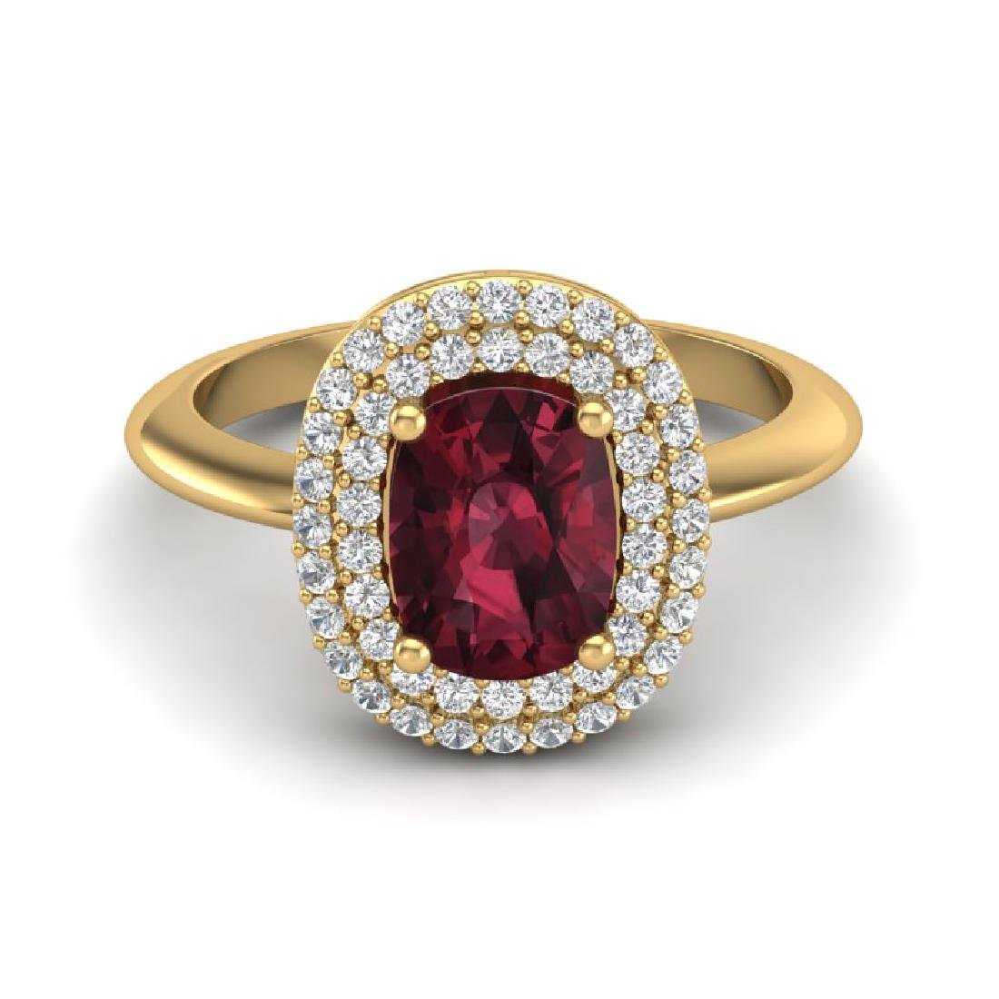 2.50 CTW Garnet With Micro VS/SI Diamond Ring Halo 14K