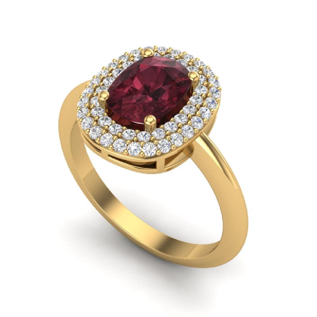 2.50 CTW Garnet With Micro VS/SI Diamond Ring Halo 14K - 2