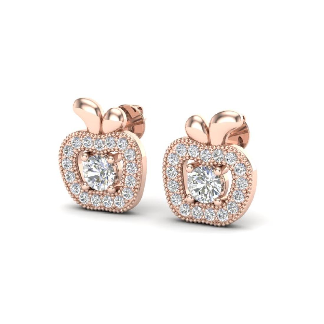 0.60 CTW VS/SI Diamond Micro Pave Halo Earrings 14K