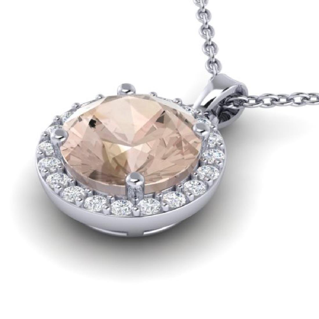 1.50 CTW Morganite & Halo VS/SI Diamond Micro Necklace