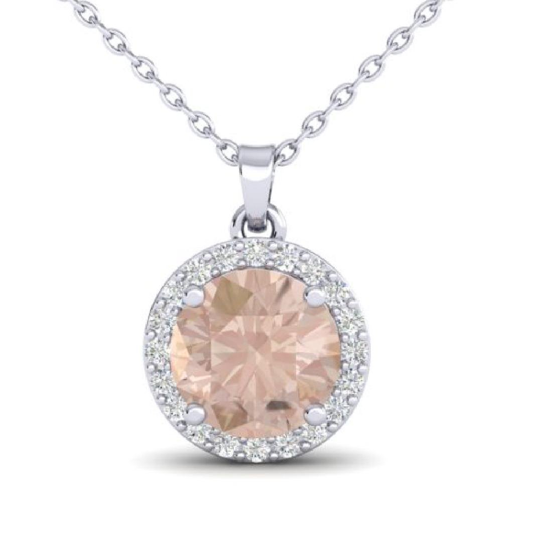1.50 CTW Morganite & Halo VS/SI Diamond Micro Necklace - 2