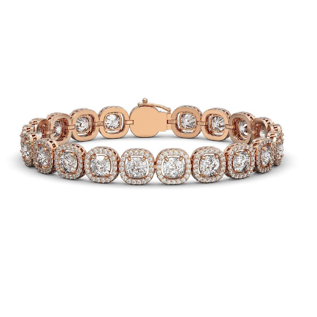 14.41 CTW Cushion Diamond Designer Bracelet 18K Rose