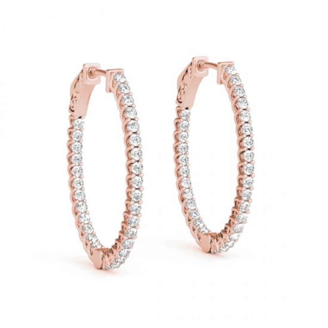 3.2 CTW Diamond VS/SI Certified 30 Mm Hoop Earrings 14K - 2