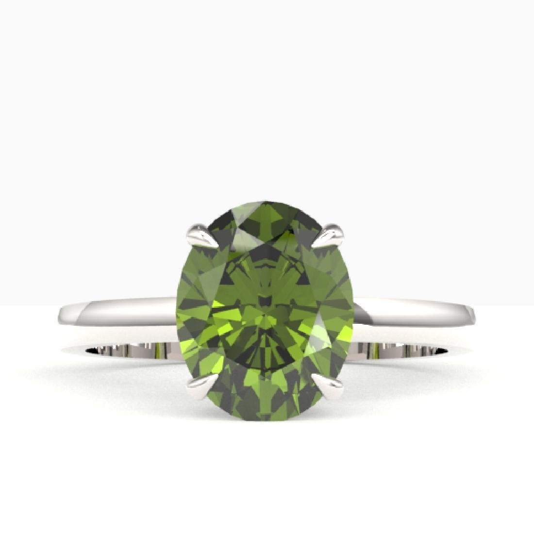3 CTW Green Tourmaline Designer Inspired Solitaire Ring