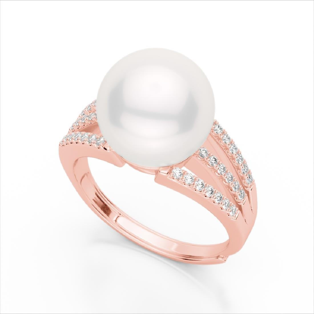 0.30 CTW Micro Pave VS/SI Diamond & Pearl Designer Ring - 2