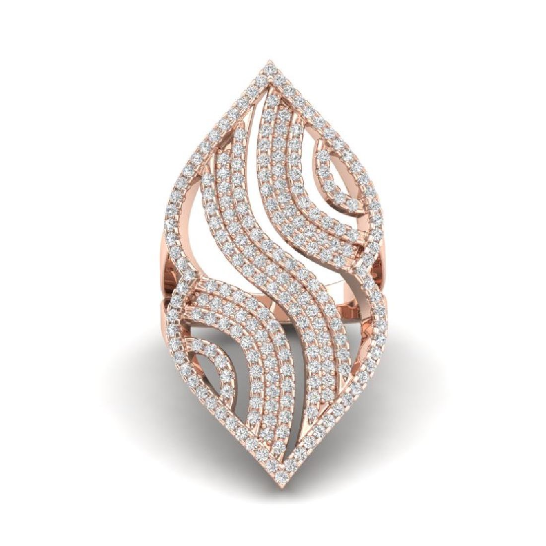 2 CTW Micro Pave VS/SI Diamond Designer Ring 14K Rose - 2
