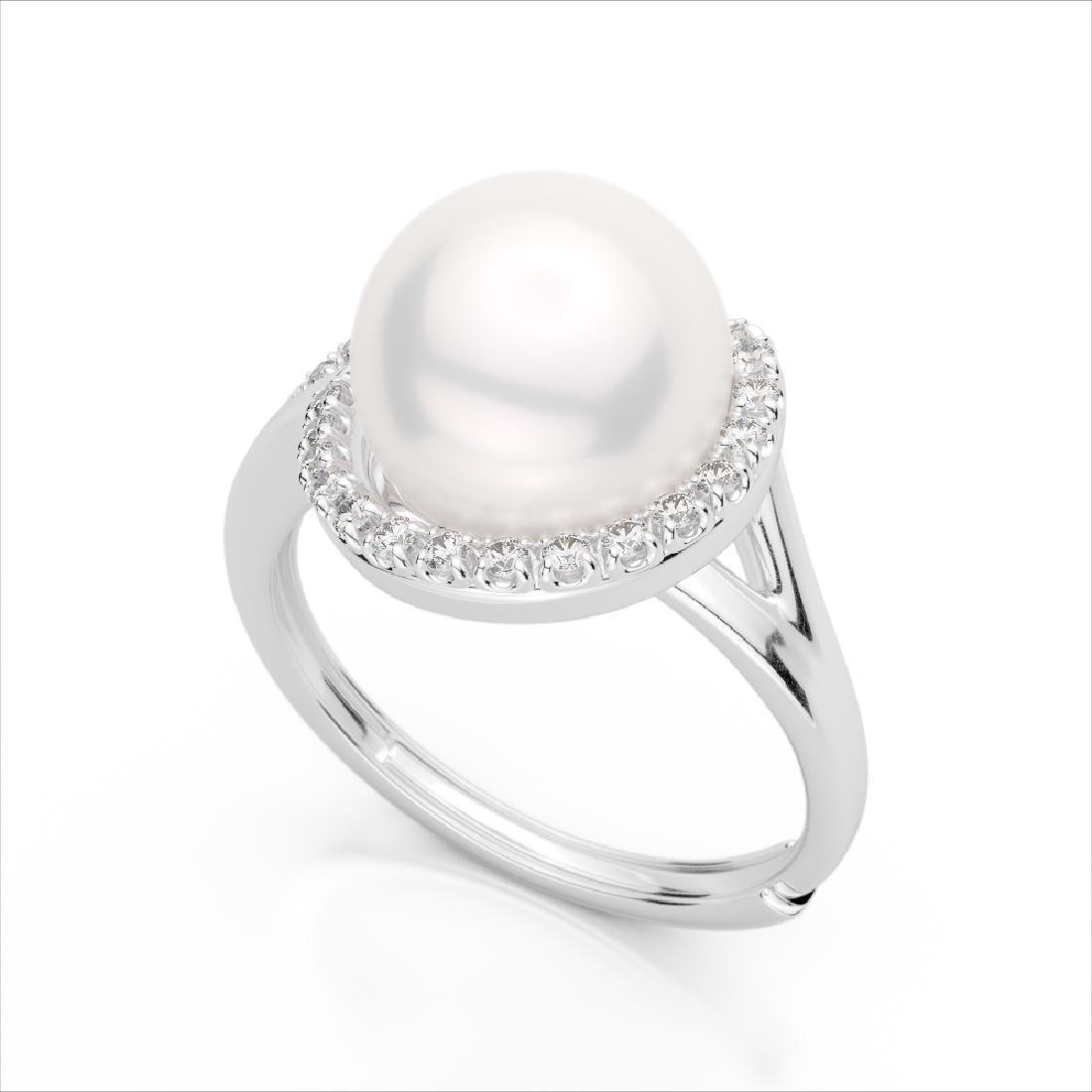 0.27 CTW VS/SI Diamond & Pearl Designer Ring 18K White - 2