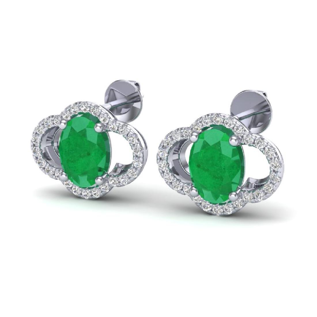 4 CTW Emerald & Micro Pave VS/SI Diamond Earrings 10K