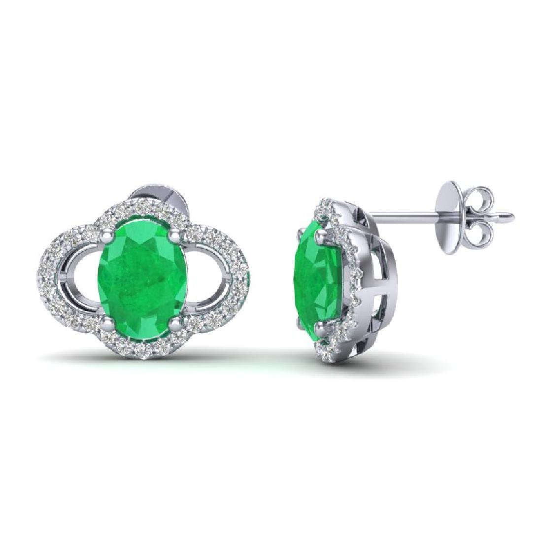 4 CTW Emerald & Micro Pave VS/SI Diamond Earrings 10K - 2