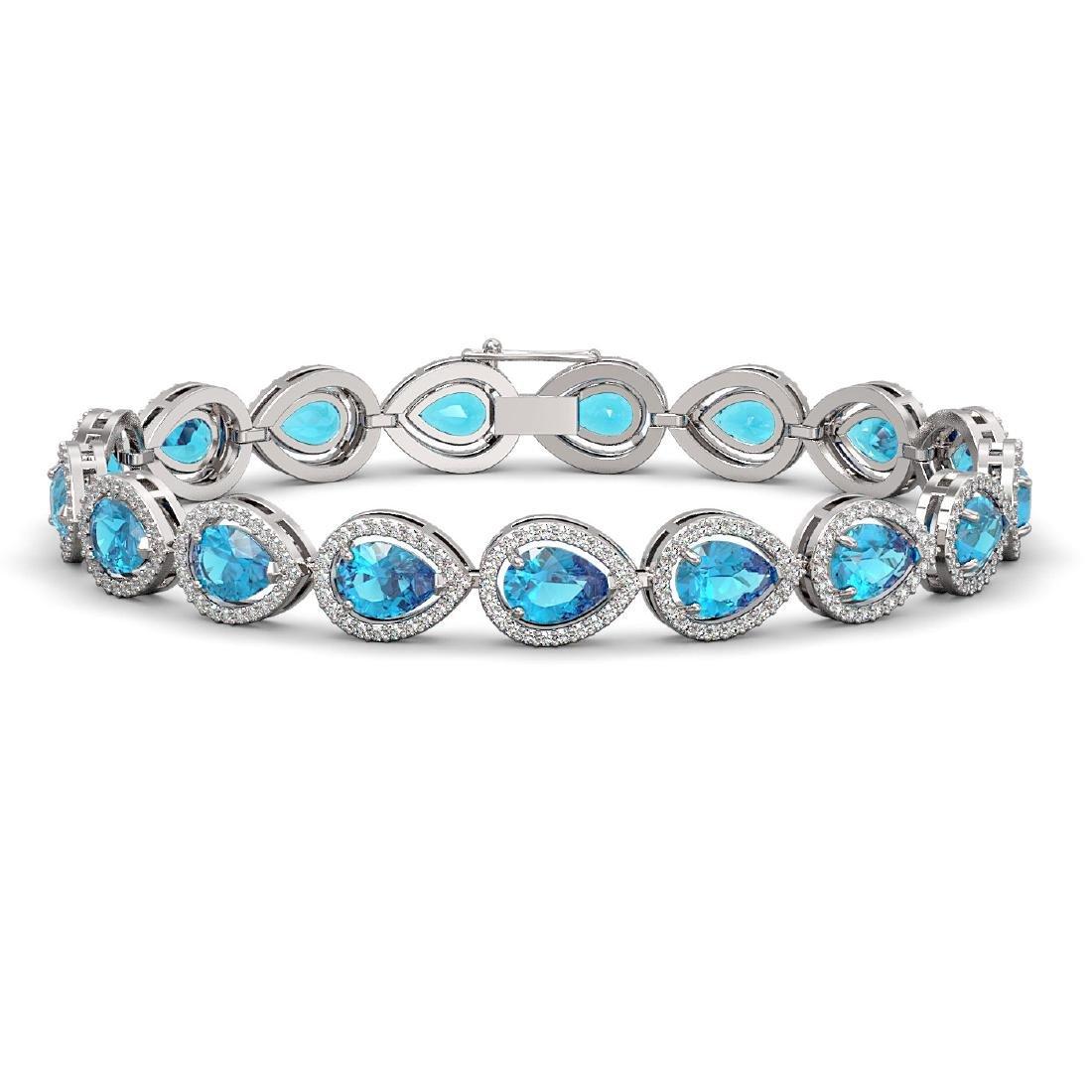 16.59 CTW Swiss Topaz & Diamond Halo Bracelet 10K White