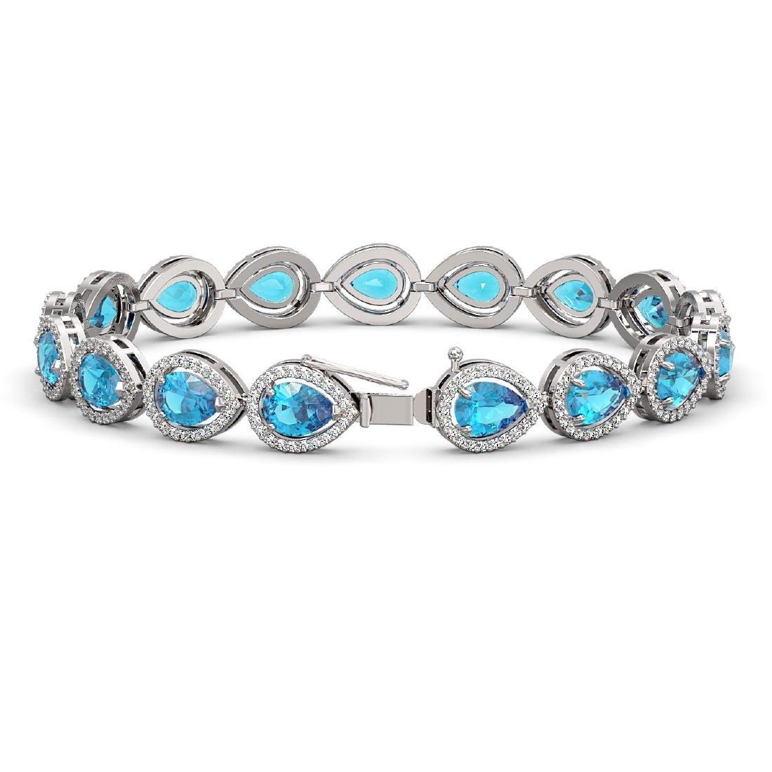 16.59 CTW Swiss Topaz & Diamond Halo Bracelet 10K White - 2