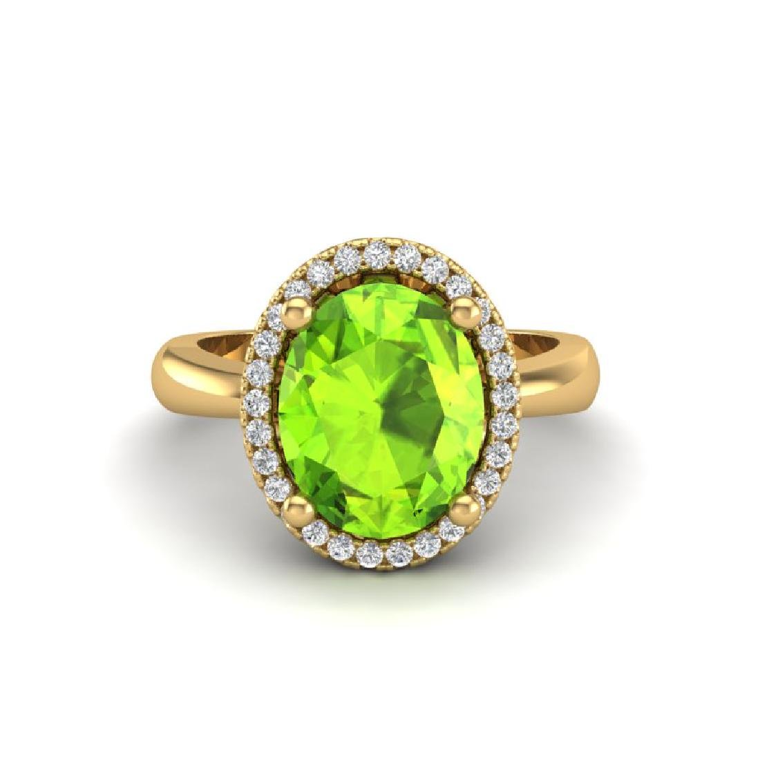 2.50 CTW Peridot & Micro Pave VS/SI Diamond Ring Halo