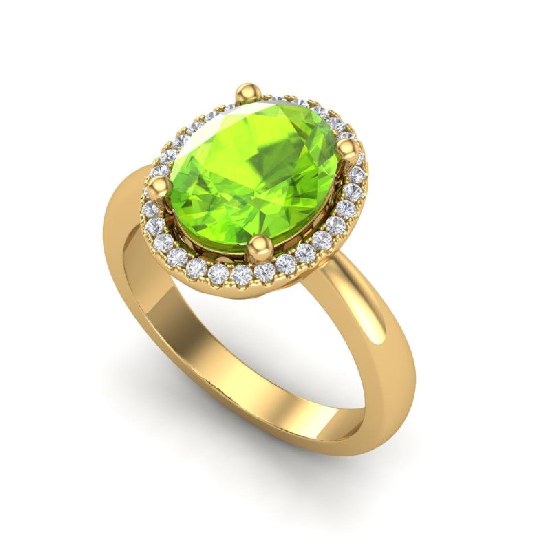 2.50 CTW Peridot & Micro Pave VS/SI Diamond Ring Halo - 2