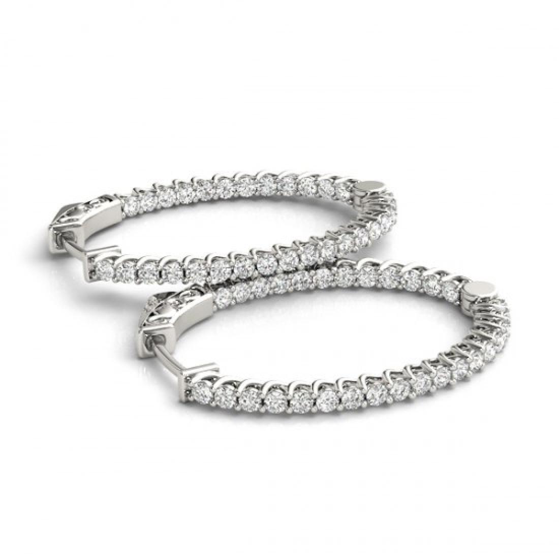 2.5 CTW Diamond VS/SI Certified 36 Mm Hoop Earrings 14K