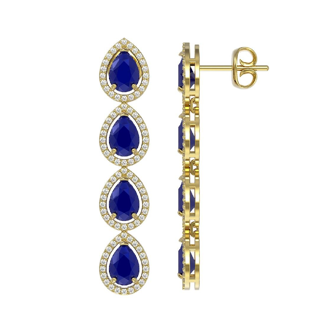 10.2 CTW Sapphire & Diamond Halo Earrings 10K Yellow - 2