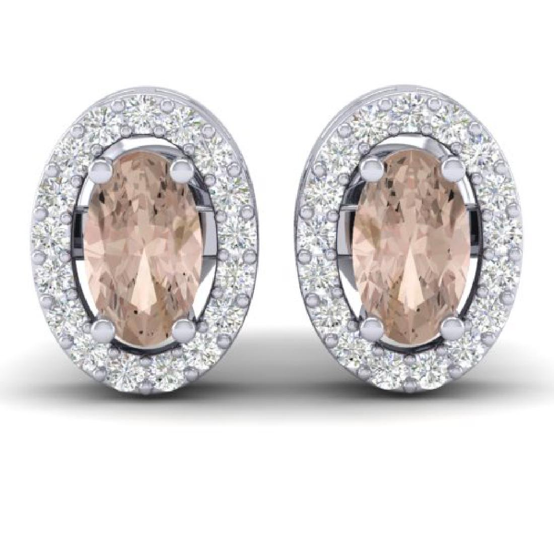 0.75 CTW Morganite & Micro Pave VS/SI Diamond Earrings