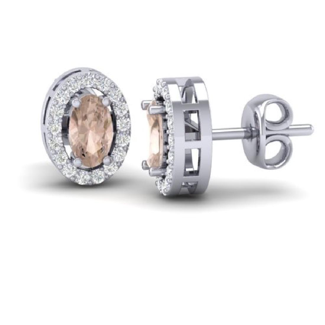 0.75 CTW Morganite & Micro Pave VS/SI Diamond Earrings - 2