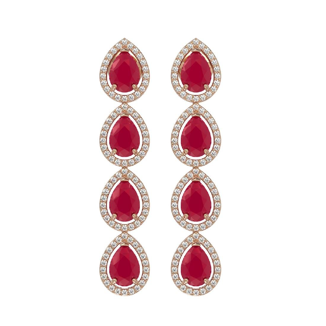 10.2 CTW Ruby & Diamond Halo Earrings 10K Rose Gold