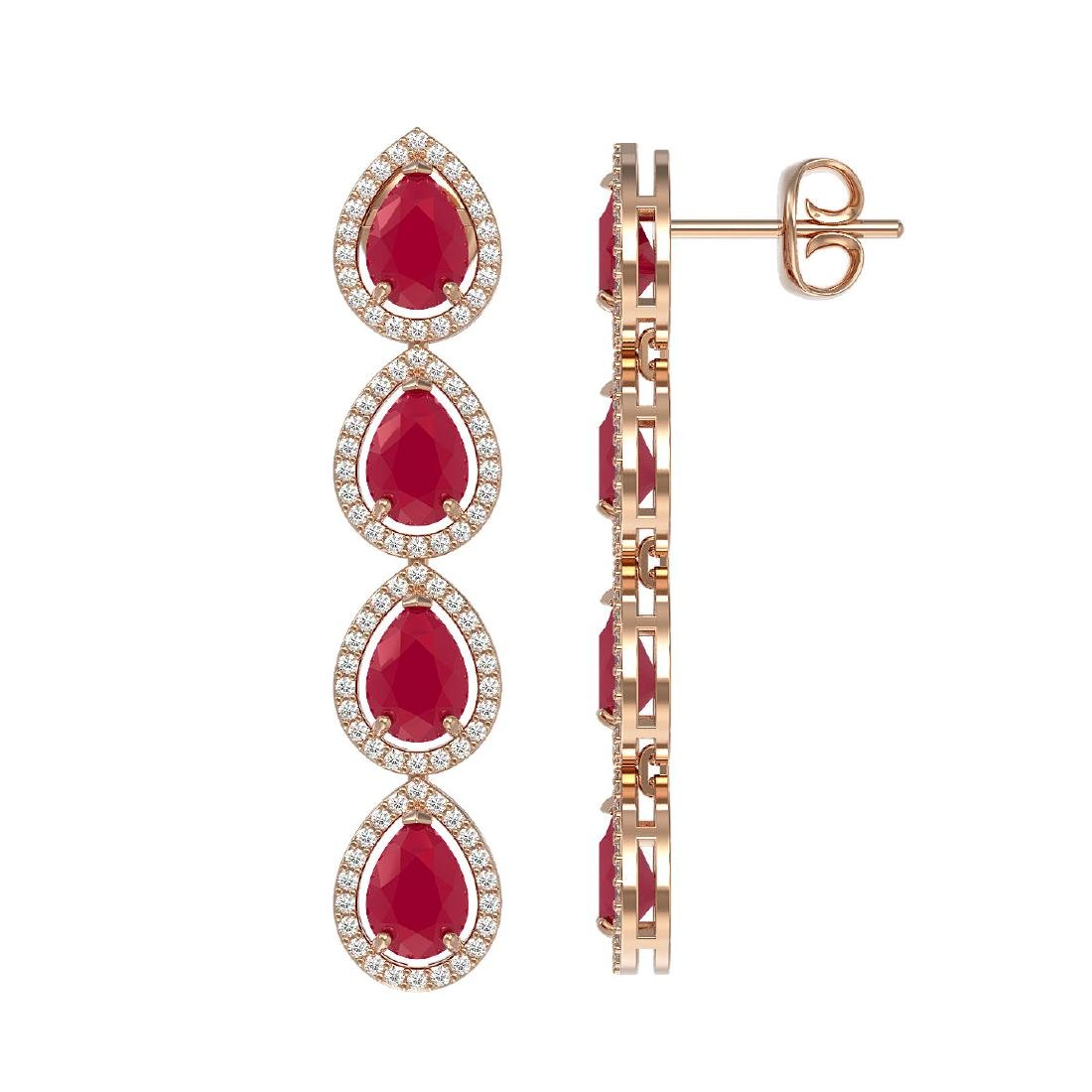 10.2 CTW Ruby & Diamond Halo Earrings 10K Rose Gold - 2