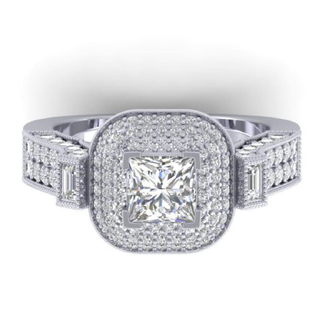 2.85 CTW Princess VS/SI Diamond Art Deco Micro Halo
