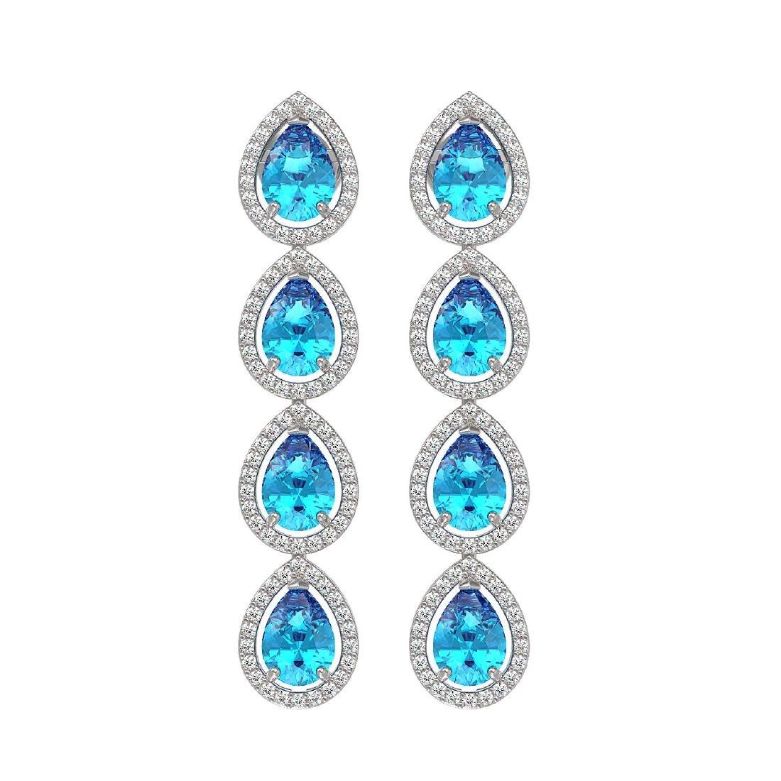 7.81 CTW Swiss Topaz & Diamond Halo Earrings 10K White