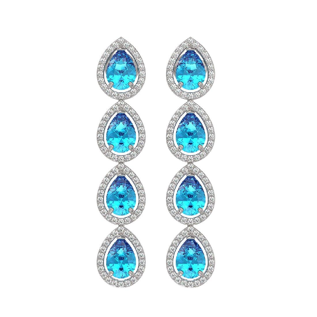 7.81 CTW Swiss Topaz & Diamond Halo Earrings 10K White