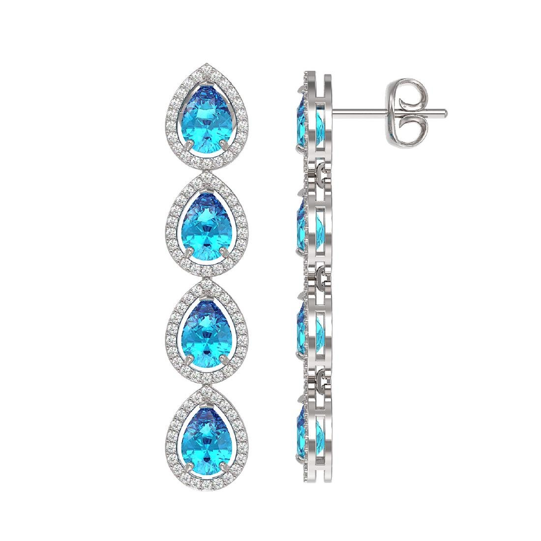 7.81 CTW Swiss Topaz & Diamond Halo Earrings 10K White - 2