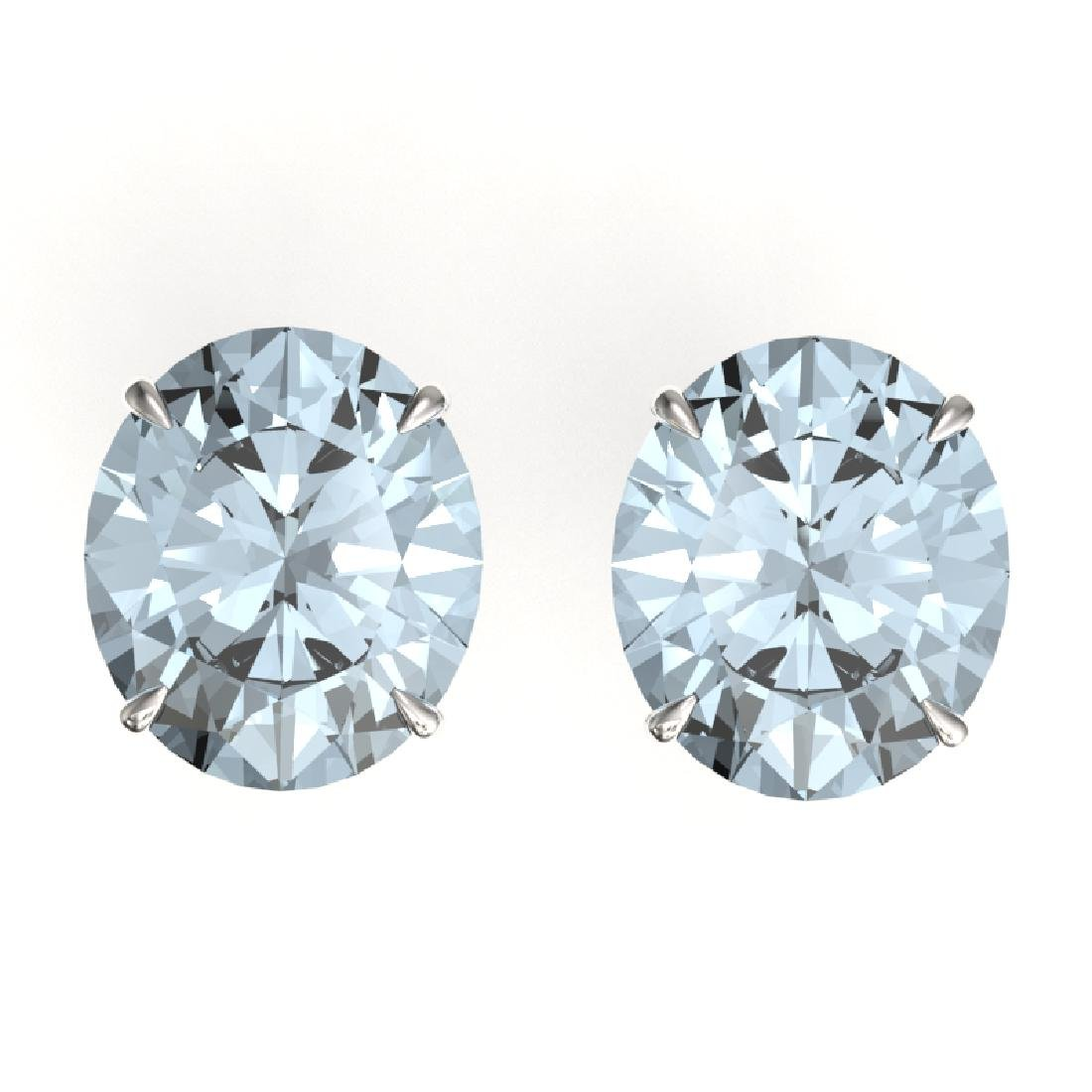 18 CTW Sky Blue Topaz Designer Solitaire Stud Earrings